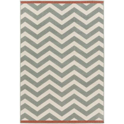 Alfresco Alf9644-5376 53 X 76 Rectangular 100% Polypropylene Rug With Low Pile  Loop Texture  And Machine Made In Egypt In Moss And