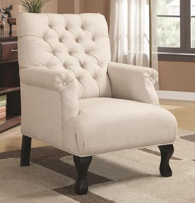 902177 Accent Seating Transitional Accent Chair with Button-Tufted Back  Exposed Legs in Black Finish and Fabric Upholstery in Oatmeal