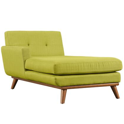 Engage Eei1793whe 69.5 Left Arm Chaise With Plastic Foot Glides  Tufted Back Cushion  Rubber Wood Legs And Fabric Upholstery In Wheatgrass