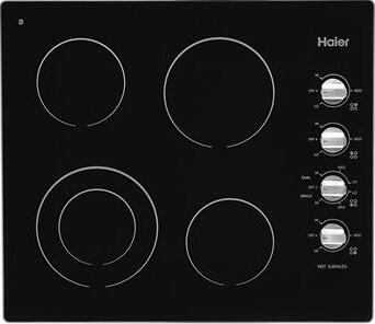 Haier HCC2220BEB 24 Electric Cooktop With 4 Elements Heavy-Duty Metal Knobs Left Front Dual Element Mechanical Knob in
