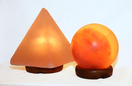 AMC950034-5 5 inch  Sphere Shaped Himalayan Salt Lamp 1.5 and 9 inch  Pyramid Lamp with