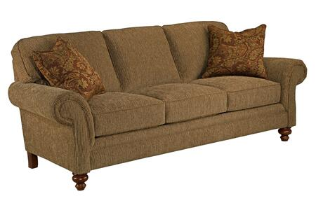 Larissa Collection 6112-3/8370-78/8375-67 88 inch  Sofa with 2 Pillows  Large Rolled Arms and Pillow Back Cushions in Orange and Cherry Stain