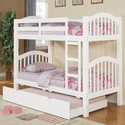 Heartland Collection 02354TRN Twin Over Twin Bunk Bed with Trundle  Right Facing Front Ladder  Easy Access Guard Rail  Slat System Included and Wood Veneer