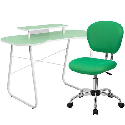 NAN-4-GG Green Computer Desk with Monitor Stand and Mesh