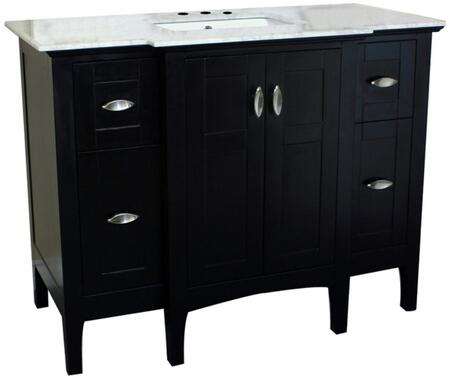 7614-ES-WH 45 inch  Single Sink Vanity in Espresso with Marble Top in