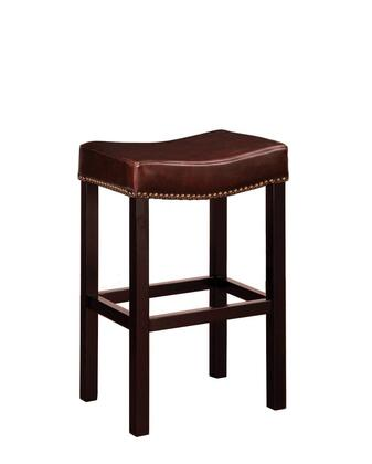 LCMBS013BABC26 Tudor Backless 26 Stationary Barstool In Brown bonded leather With Nailhead Accents