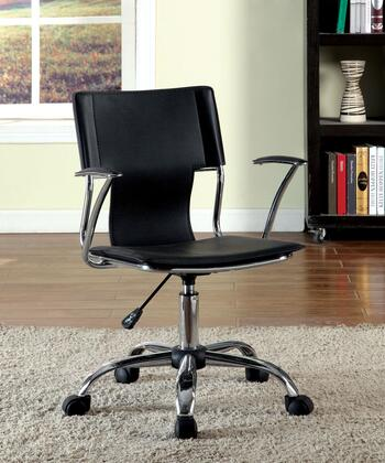 Zemin CM-FC621BK Office Chair with Padded Leatherette Chair  Pneumatic Ht. Adjustable Seat  Padded Armrests  Metal Base in