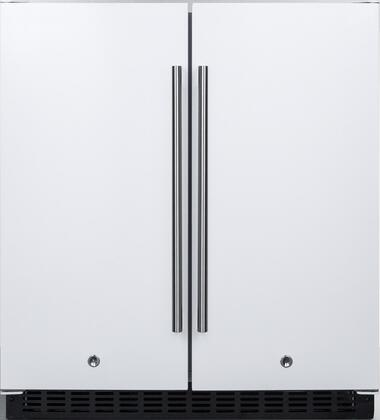 Summit FFRF3075W 30 Compact Side by Side Refrigerator and Freezer with 5.4 cu. ft. Capacity Frost-Free Operation Factory Installed Lock LED Lighting Digital Thermostat Temperature and Door Alarm in White