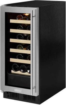 "ML15WSG0LS 15"" Single Zone Wine Cooler with 2.86 cu. ft. Capacity or 23 Bottle Capacity  Vibration Neutralization System  Marvel Prime Controls  in Glass Door"