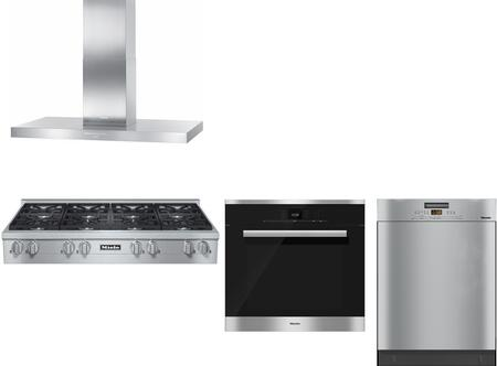 4-piece Stainless Steel Kitchen Package With Kmr1354lp 48 Liquid Propane Rangetop  Da424v 48 Island Mount Chimney Hood  H6780bp 30 Single Convection Oven