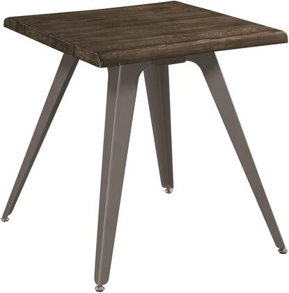 Occasional Groups Collection 705817 22 inch  End Table with Solid Wood Top  Antique Pewter Tapered Legs and Square Size in Dark Rustic Brown