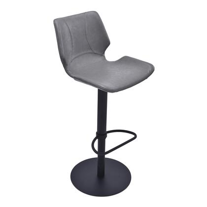 Zuma Collection LCZUBAVGBL Bar Stool with Swivel Seat  Adjustable Height  Polyurethane Foam Cushion  Matte Black Metal Frame Finish and Faux Leather Upholstery