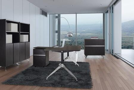 1C300006CES Espresso Executive L Shaped Desk with File Cabinet  Mobile Pedestal and