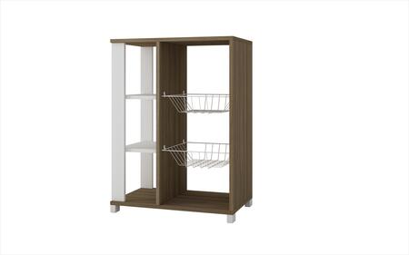 49AMC47 Accentuations by Manhattan Comfort Useful Pasir Pantry Rack with 4 Shelves and 2 Racks in Oak and