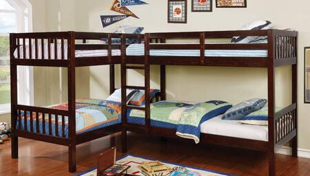 Marquette Collection CM-BK904-BED Quadruple Twin Size Bunk Bed with L-Shaped  Attached Ladder  Corner Design  Solid Wood and Wood Veneer Construction in Dark