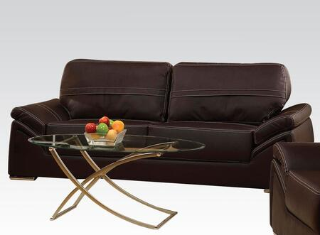 Ember Collection 50745 88 inch  Sofa with Pillow Top Arms  Wood Frame  Loose Back Cushions  Chrome Legs and Bycast PU Leather Upholstery in Espresso