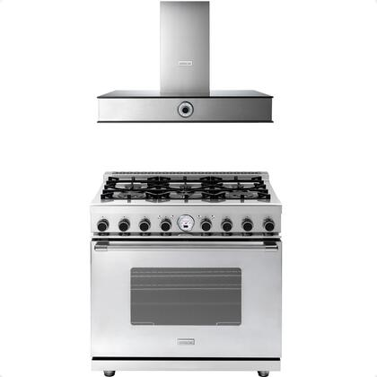 2-Piece Stainless Steel Kitchen Package with RN361SCSS 36 inch  Freestanding Dual Fuel Range