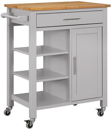 43029 28 inch  Edmonton Kitchen Cart with Natural Wood Top  1 Drawer  1 Framed Door and Large Industrial Casters in