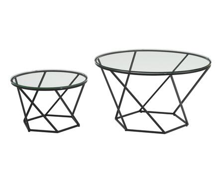 AF28CLRGGBL Geometric Glass Nesting Coffee Tables in