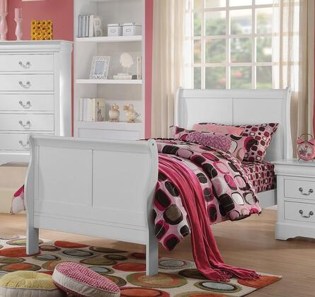 Louis Philippe III Collection 24515T Twin Size Bed with Sleigh Headboard  Solid Pine Wood and Gum Veneer Construction in White