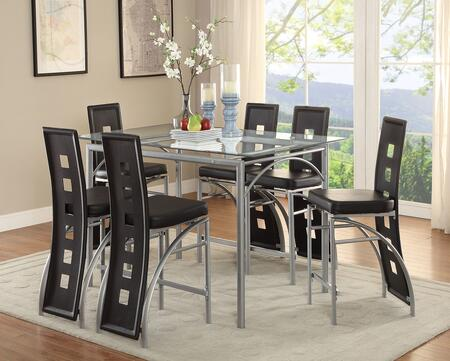 Los Feliz Collection 101688-S7 7-Piece Dining Room Set with Counter Height Table with and 6 Counter Height Chairs in Matte Silver and