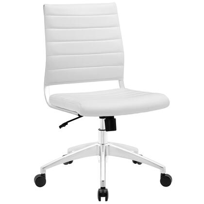 Jive Collection EEI-1525-WHI Armless Office Chair with 5-Caster Dual Wheel Base  Mid-Back Chrome-Plated Aluminum Frame  Tilt Lock Tension Control  Adjustable