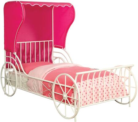 Charm Collection CM7715T Twin Size Platform Bed with Carriage Style  Pink Fabric Wingback Tent  Full Metal Construction and Powder Coated in White