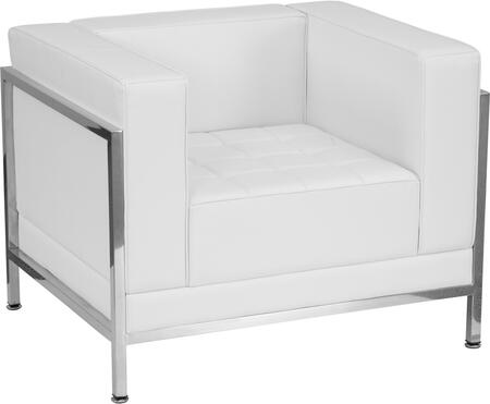 ZB-IMAG-CHAIR-WH-GG HERCULES Imagination Series Contemporary White Leather Chair with Encasing