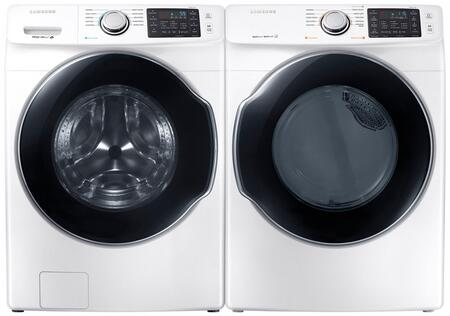 """Front Load Laundry Pair with WF45M5500AW 27"""""""" Front Load Washer and DVE45M5500W 27"""""""" Electric Dryer and WE357A0W X2 Pedestals in"""" 840455"""