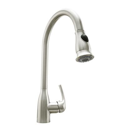 COS-KF776SS Pull Down Single Kitchen Faucet with Pull Down Sprayer  Stainless Steel Braided Hose  Ceramic Disc Valve and Brass Construction  in Brushed Nickel