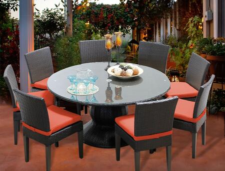 Napa-60-kit-8c-tangerine Napa 60 Inch Outdoor Patio Dining Table With 8 Armless Chairs With 2 Covers: Wheat And
