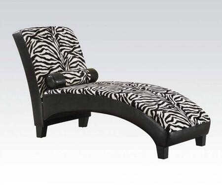 Anna Collection 96139 63 inch  Lounge Chaise with Pillow Included  Tapered Legs  Zebra Pattern Fabric and Black Bycast PU Leather