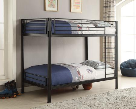 Boltzero Collection 400067T Twin Over Twin Bunk Bed with Built-In Ladder and Metal Side Guard Rails in Black