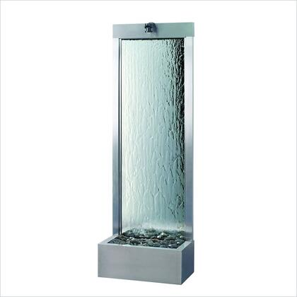 Gardenfall GF6SM 72 Rear Mount Fountain with Tempered Glass Panel  Polished River Rocks and Brushed Steel Construction in