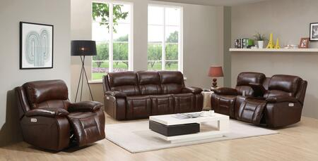 Wesminster II Collection Top Grain Leather Power Reclining Sofa  Loveseat and Recliner Set with Power Headrest in Brown