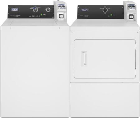 Commercial Laundry Pair with MAT20CSAWW 2.9 cu. ft. Top Load Washer and MDG20CSAWW 7.4 cu. ft. Gas