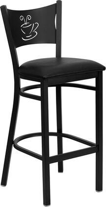 XU-DG-60114-COF-BAR-BLKV-GG HERCULES Series Black Coffee Back Metal Restaurant Bar Stool - Black Vinyl