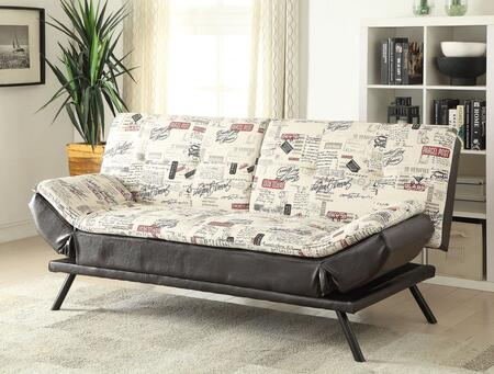 Noln Collection 57180 76 inch  Adjustable Sofa with Wood Frame  Metal Legs  Tight Cushions  Fabric and Bycast PU Leather Upholstery in Espresso