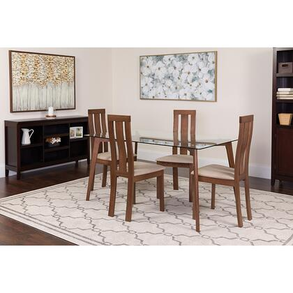 ES-138-GG Escalon 5 Piece Walnut Wood Dining Table Set With Glass Top And Vertical Wide Slat Back Wood Dining Chairs - Padded Seats 39
