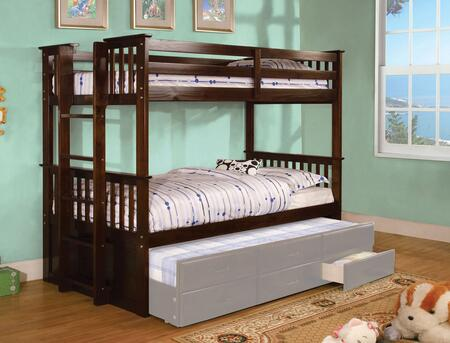 University II Collection CM-BK458T-EXP-BED Twin Size Bunk Bed with Side Access Ladder  13 PC Slats Top and Bottom  Solid Wood and Wood Veneers Construction in