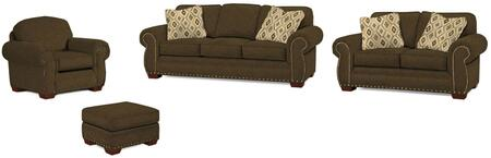 Cambridge Collection 5054Q2424793424682SLCO 4-Piece Living Room Set with Sofa  Loveseat  Chair and Ottoman in Grey with Walnut