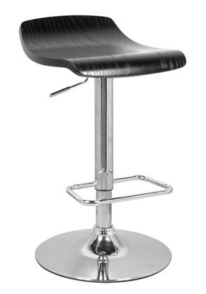 Holt Collection 96259 23 inch  - 32 inch  Stool with Swivel Wooden Seat  Gas Lift Adjustable Height  Chrome Metal Base  Waterfall Seat Edge and Round Base in Black and