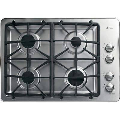 "PGP943SETSS 30"" Built-In Gas Deep-Recessed Cooktop with 4 Sealed Burners  Deluxe Cast-Iron Grates  Dishwasher-Safe Grates and Knobs  Electronic Ignition in"
