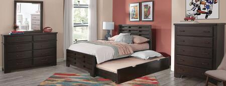 Billings Collection 1840-46CPB-906-2NSDSMRCD 5-Piece Bedroom Sets with Full Panel Bed and Trundle  Nightstand  Dresser  Mirror and Chest in Dark