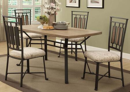 Dervon Collection 71650T5CH 5 PC Dining Room Set with Dining Table and 4 Side Chairs in Light Oak and Grey Metal