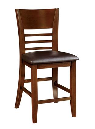 Hillsview I Collection CM3916PC-2PK Set of 2 Counter Height Chair with Flared Back Panel  Tapered Legs and Leatherette Padded Seat in Brown