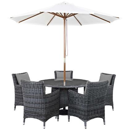 Summon Collection EEI-2328-GRY-GRY-SET 7 PC Outdoor Patio Sunbrella Dining Set with 5 Armchairs  Square Dining Table and Umbrella inSummon EEI-2328-GRY-GRY-SET