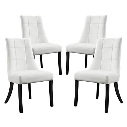 EEI-1678-WHI Set of 4 Noblesse Vinyl Dining Chair with   Tufted Detailing and Tapered Legs in White