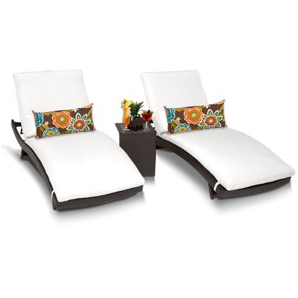 Barbados BARBADOS-CURVED-CHAISE-2x-ST-WHITE 3-Piece Patio Set with 2 Curved Chaises and Side Table - Wheat and Sail White