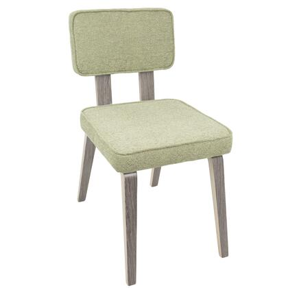 DC-NNZ LGY+LGN2 Nunzio Mid-Century Modern Dining Chair in Light Grey Wood and Light Green Fabric - Set of